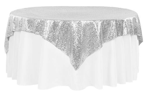 "72"" Square Glitz Sequin Table Overlay Topper"