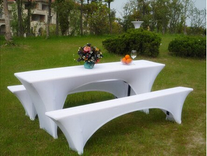 8 FT White Rectangular Stretch Spandex Tablecloth