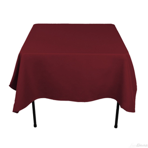 Supplier Polyester Square Tablecloth - 52 x 52 Inch - Burgundy Square Table Cloth for Square or Round Tables in Washable Polyester - Great for Buffet Table, Parties, Holiday Dinner, Wedding & More