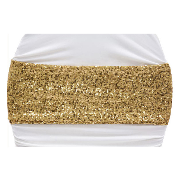 Rose sequin spandex chair sash gold