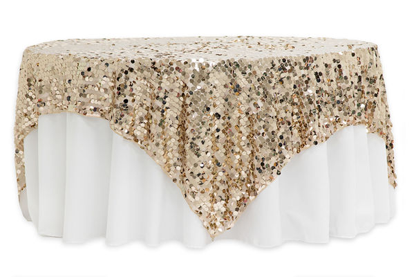 72x72 Square Large Payette Sequin Table Overlay Topper