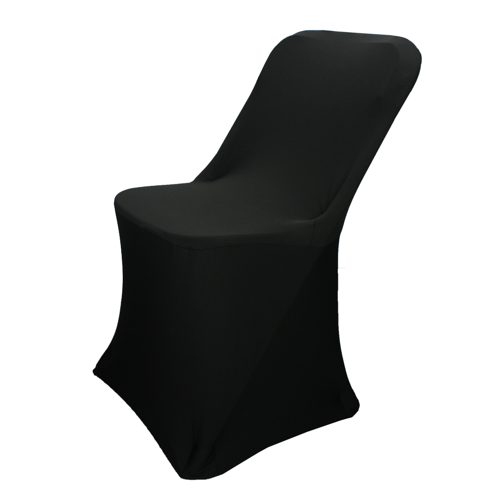 Cheap black stretch polyester spandex banquet folding chair covers