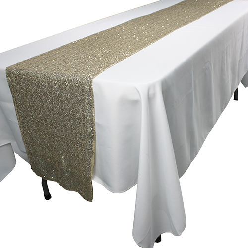 european style custom polyester rose gold sequin wedding table runner fabric