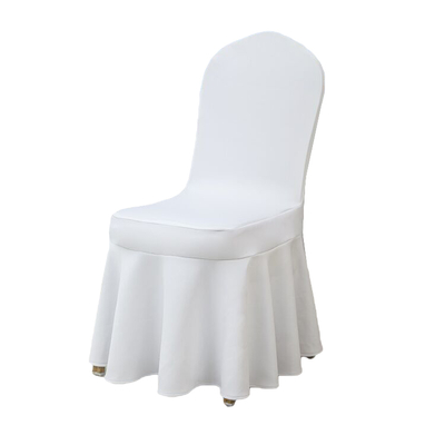 Wholesale polyester spandex ruffled white chair covers for weddings party with skirt