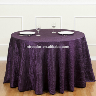 Round polyester purple restaurant table cloth factory